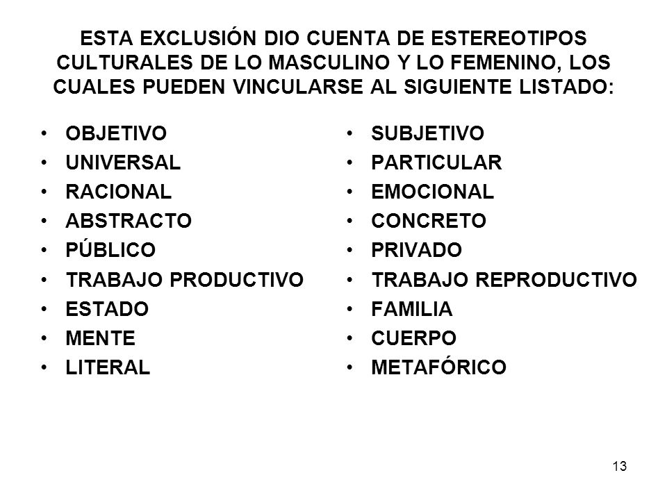ESTA EXCLUSIÓN DIO CUENTA DE ESTEREOTIPOS CULTURALES DE LO MASCULINO Y LO FEMENINO, LOS CUALES PUEDEN VINCULARSE AL SIGUIENTE LISTADO: