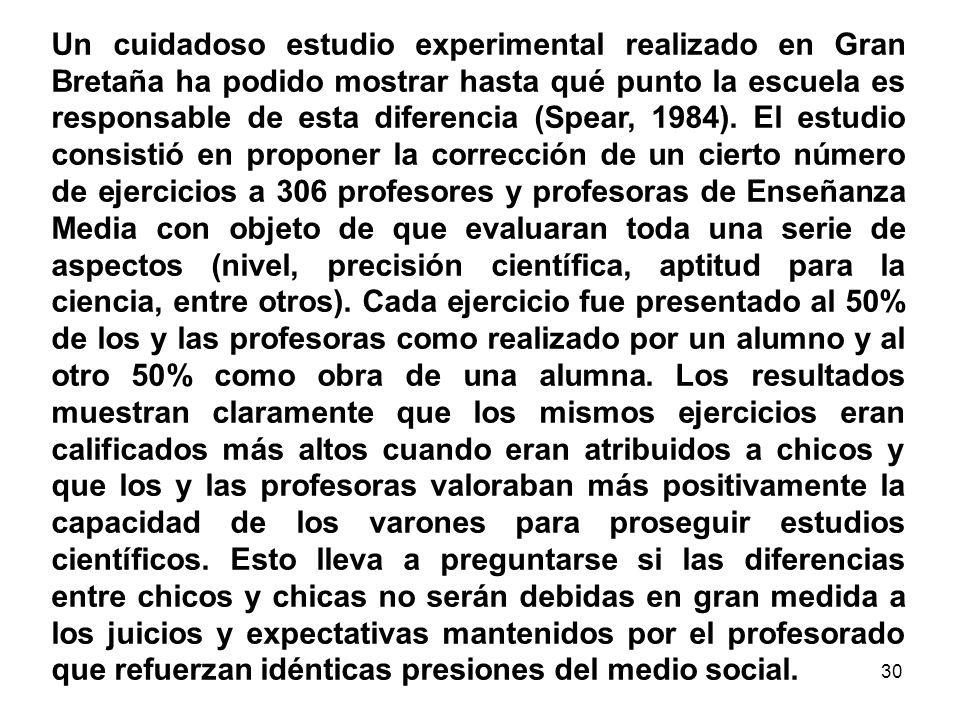 Un cuidadoso estudio experimental realizado en Gran Bretaña ha podido mostrar hasta qué punto la escuela es responsable de esta diferencia (Spear, 1984).