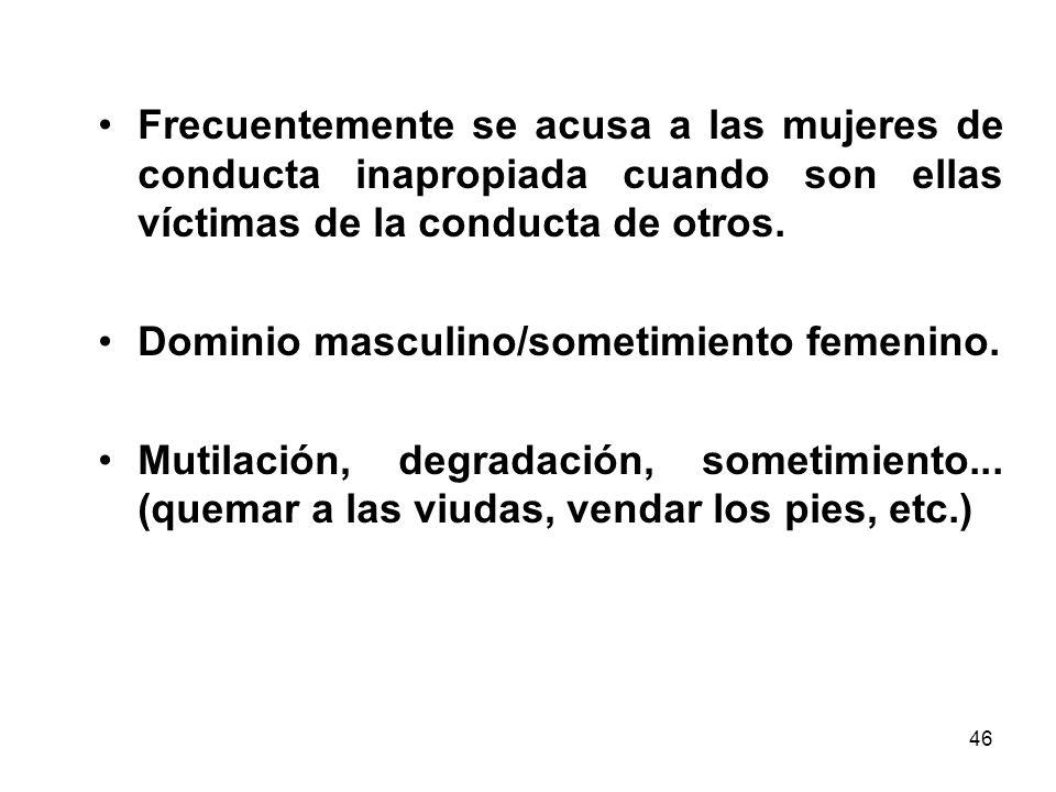 Frecuentemente se acusa a las mujeres de conducta inapropiada cuando son ellas víctimas de la conducta de otros.