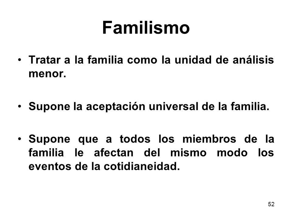 Familismo Tratar a la familia como la unidad de análisis menor.