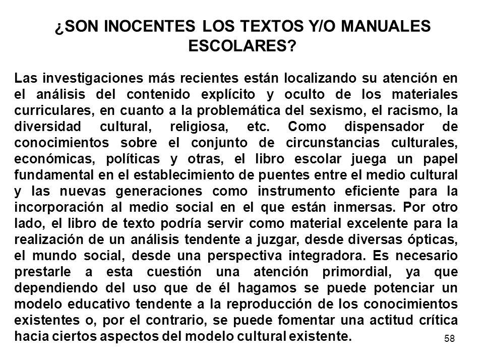 ¿SON INOCENTES LOS TEXTOS Y/O MANUALES ESCOLARES