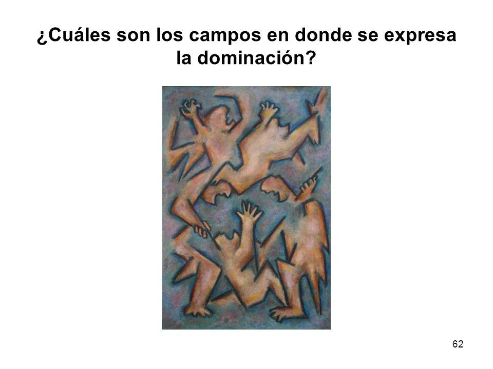 ¿Cuáles son los campos en donde se expresa la dominación