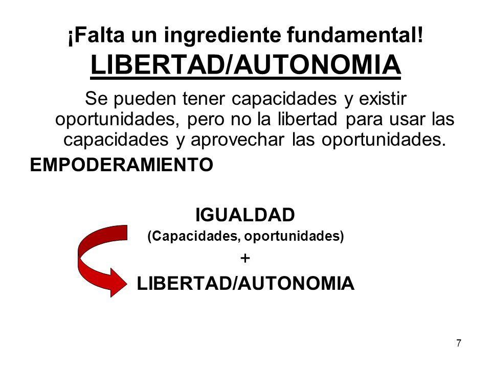 ¡Falta un ingrediente fundamental! LIBERTAD/AUTONOMIA