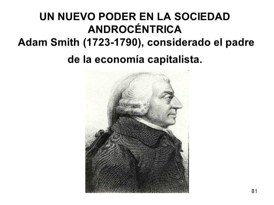 UN NUEVO PODER EN LA SOCIEDAD ANDROCÉNTRICA Adam Smith (1723-1790), considerado el padre de la economía capitalista.