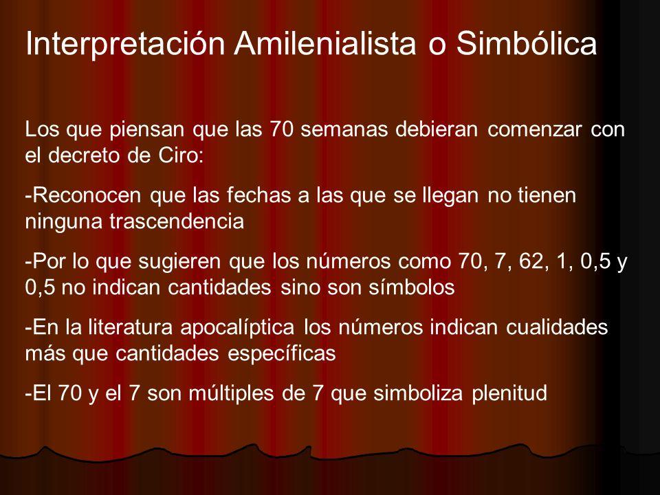 Interpretación Amilenialista o Simbólica