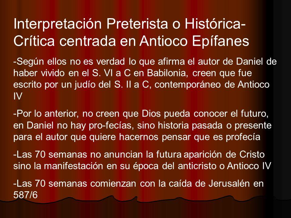 Interpretación Preterista o Histórica-Crítica centrada en Antioco Epífanes