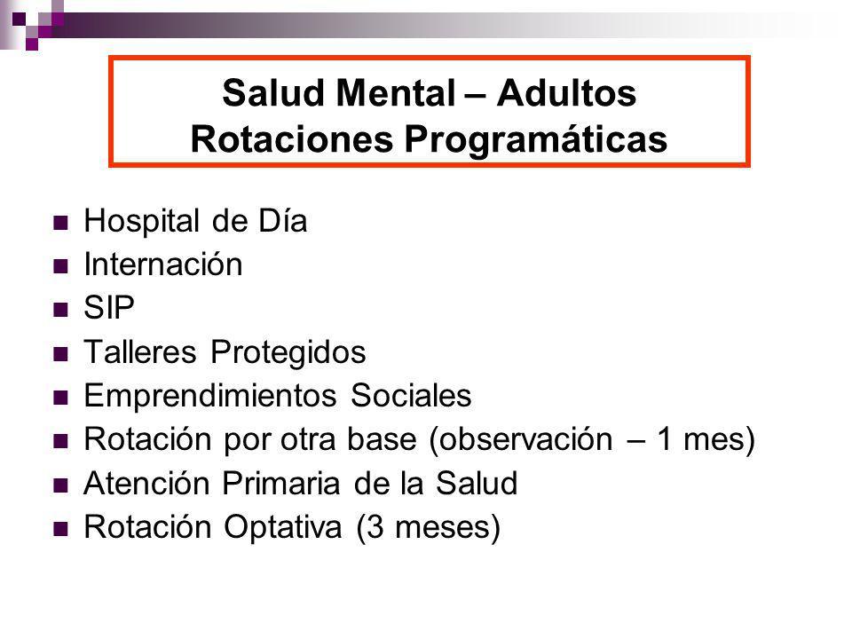 Salud Mental – Adultos Rotaciones Programáticas