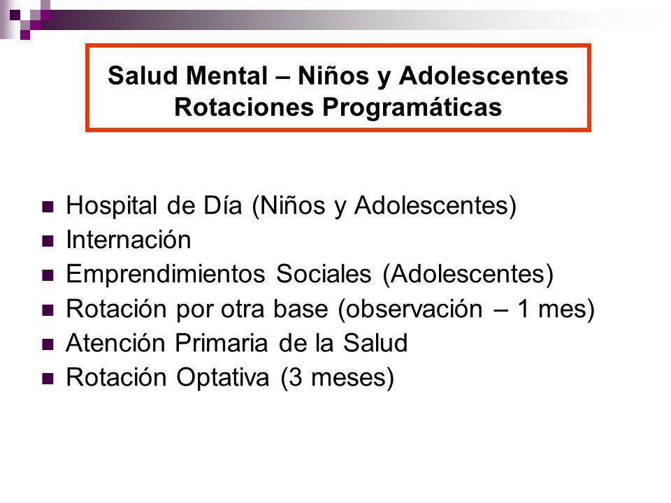 Salud Mental – Niños y Adolescentes Rotaciones Programáticas