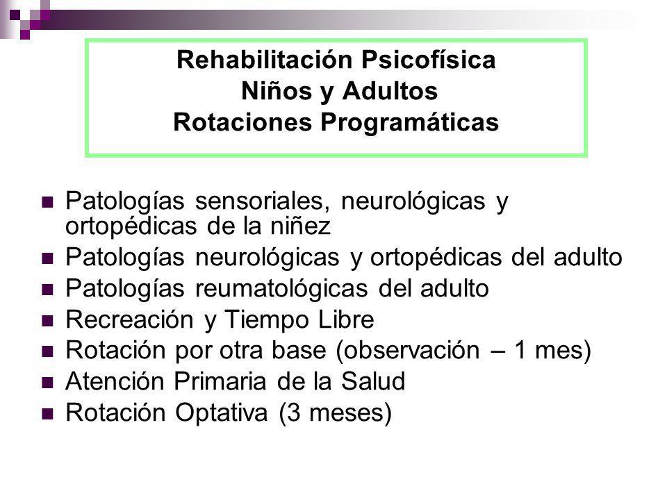 Rehabilitación Psicofísica Niños y Adultos Rotaciones Programáticas