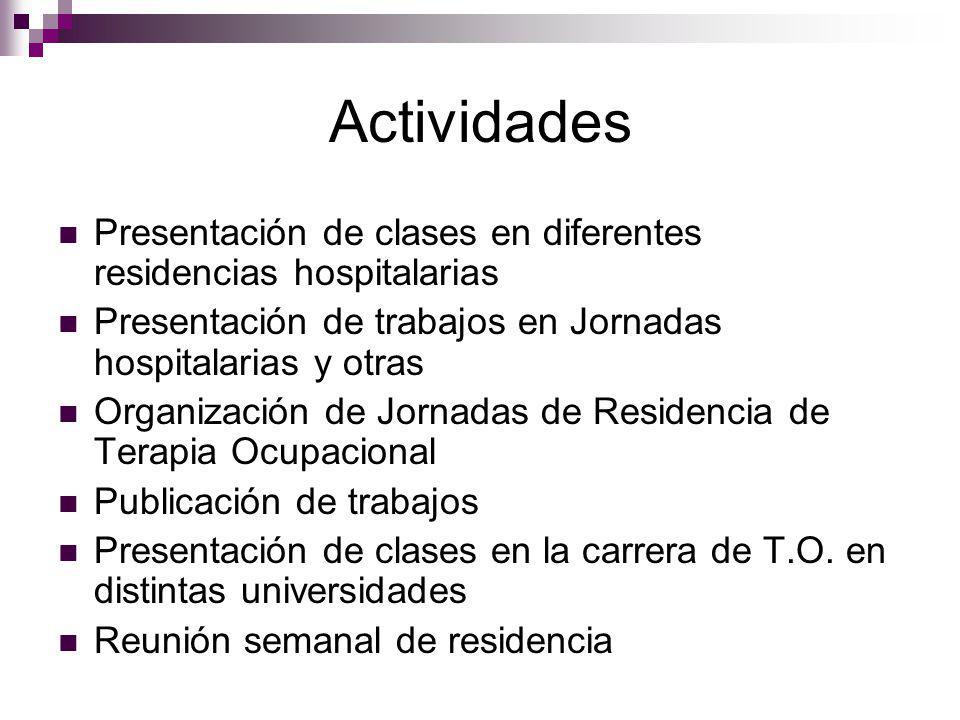 Actividades Presentación de clases en diferentes residencias hospitalarias. Presentación de trabajos en Jornadas hospitalarias y otras.