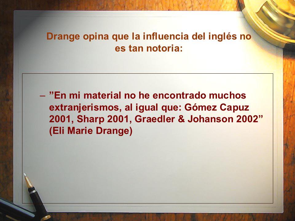 Drange opina que la influencia del inglés no es tan notoria: