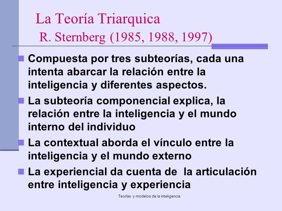 La Teoría Triarquica R. Sternberg (1985, 1988, 1997)