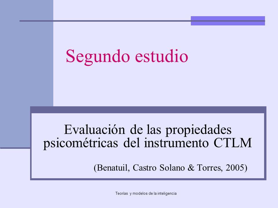 Segundo estudio Evaluación de las propiedades psicométricas del instrumento CTLM. (Benatuil, Castro Solano & Torres, 2005)
