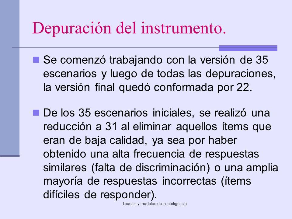 Depuración del instrumento.