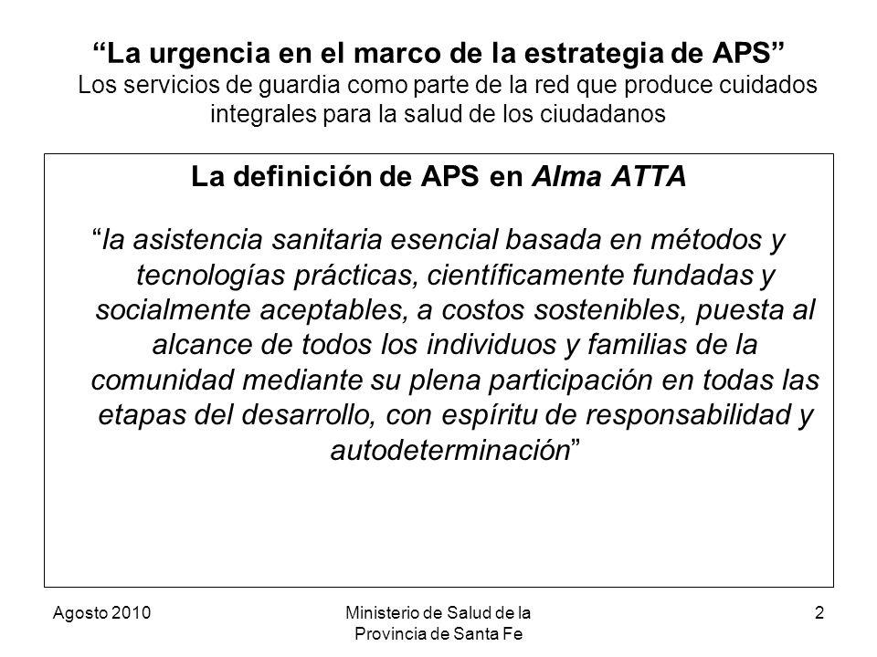 La definición de APS en Alma ATTA