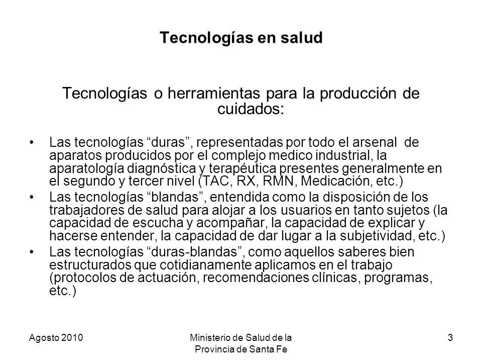 Tecnologías o herramientas para la producción de cuidados: