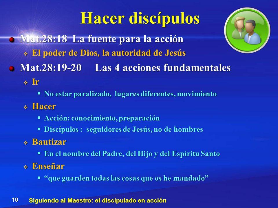 Hacer discípulos Mat.28:18 La fuente para la acción
