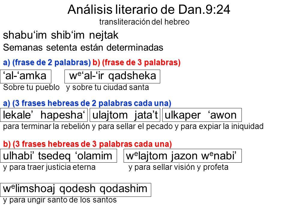 Análisis literario de Dan.9:24 transliteración del hebreo