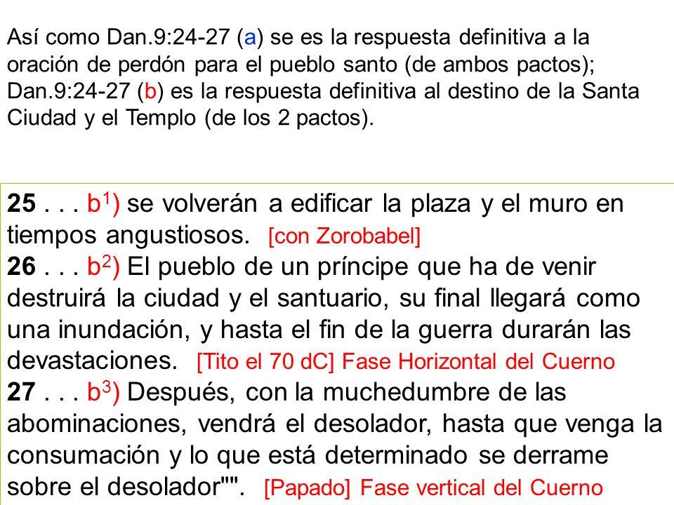 Así como Dan.9:24-27 (a) se es la respuesta definitiva a la oración de perdón para el pueblo santo (de ambos pactos); Dan.9:24-27 (b) es la respuesta definitiva al destino de la Santa Ciudad y el Templo (de los 2 pactos).