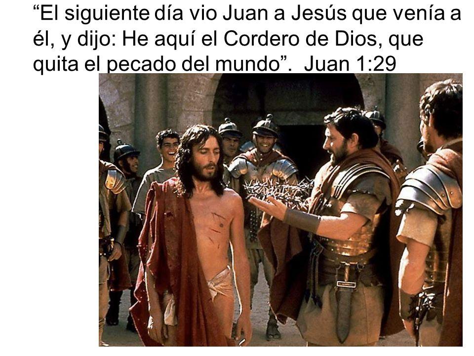El siguiente día vio Juan a Jesús que venía a él, y dijo: He aquí el Cordero de Dios, que quita el pecado del mundo .