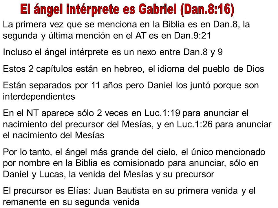 El ángel intérprete es Gabriel (Dan.8:16)