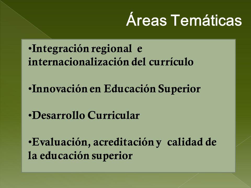 Áreas Temáticas Integración regional e internacionalización del currículo. Innovación en Educación Superior.