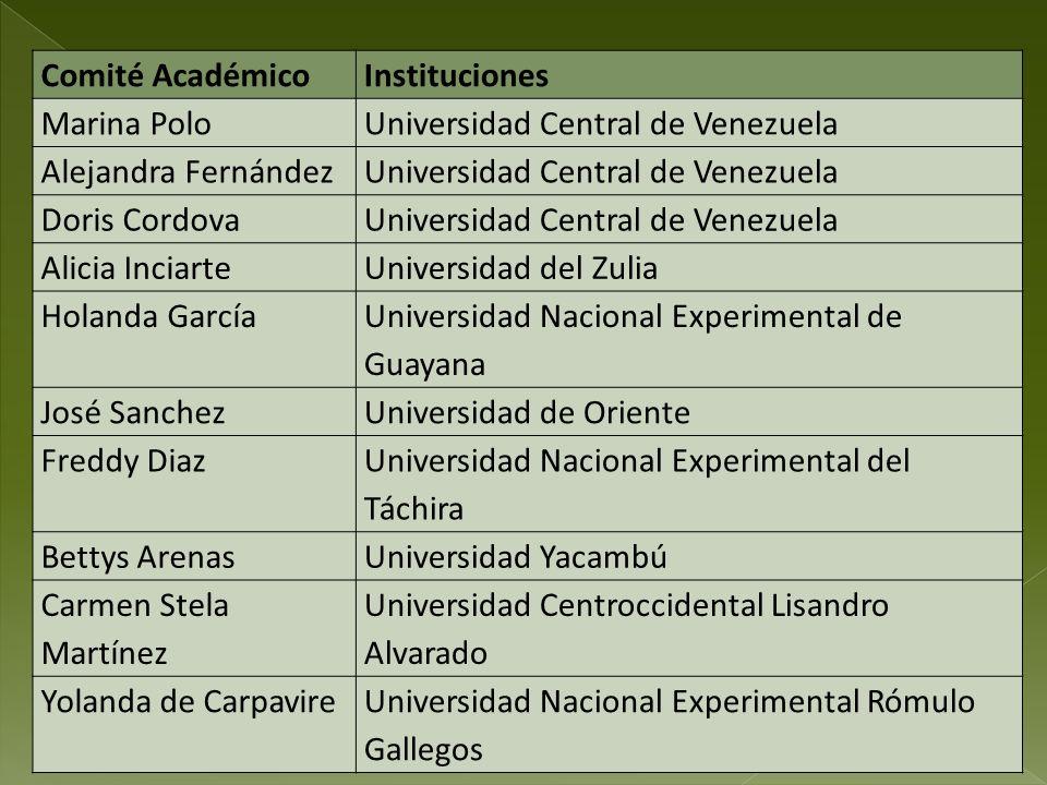 Comité Académico Instituciones. Marina Polo. Universidad Central de Venezuela. Alejandra Fernández.
