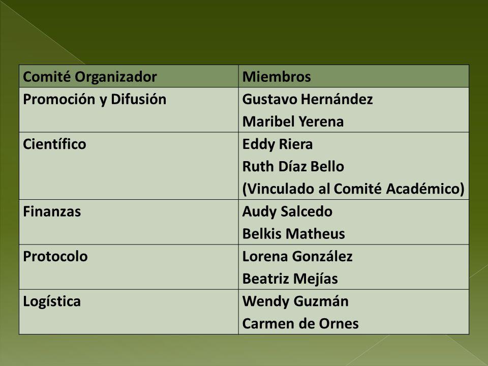 Comité Organizador Miembros. Promoción y Difusión. Gustavo Hernández. Maribel Yerena. Científico.