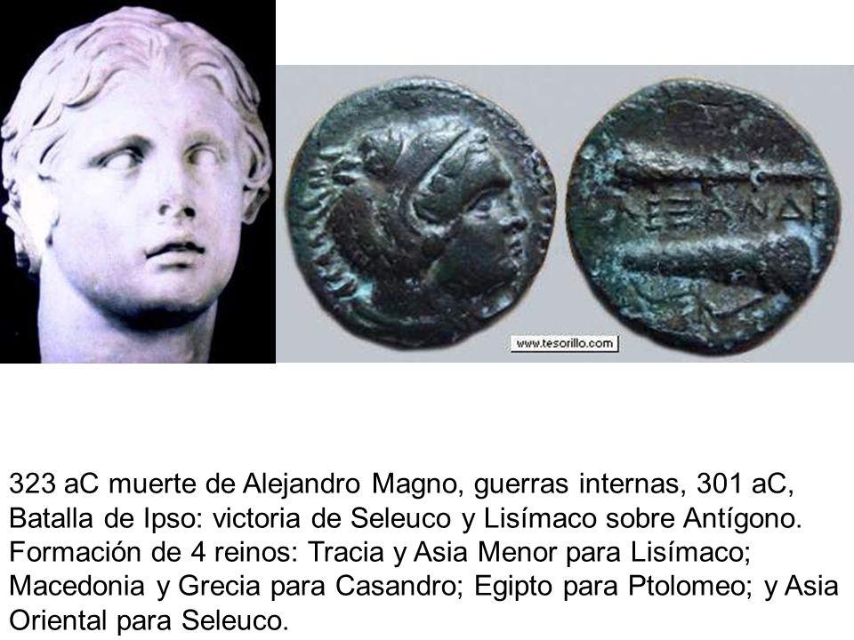 323 aC muerte de Alejandro Magno, guerras internas, 301 aC, Batalla de Ipso: victoria de Seleuco y Lisímaco sobre Antígono.