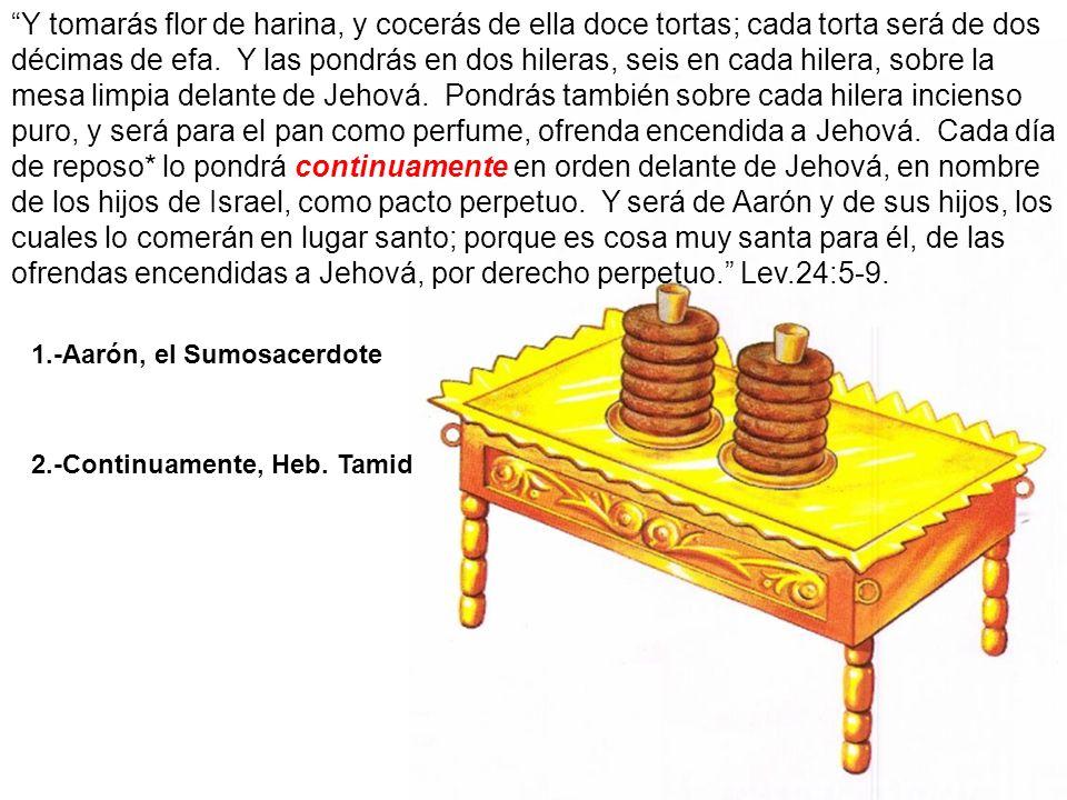 Y tomarás flor de harina, y cocerás de ella doce tortas; cada torta será de dos décimas de efa. Y las pondrás en dos hileras, seis en cada hilera, sobre la mesa limpia delante de Jehová. Pondrás también sobre cada hilera incienso puro, y será para el pan como perfume, ofrenda encendida a Jehová. Cada día de reposo* lo pondrá continuamente en orden delante de Jehová, en nombre de los hijos de Israel, como pacto perpetuo. Y será de Aarón y de sus hijos, los cuales lo comerán en lugar santo; porque es cosa muy santa para él, de las ofrendas encendidas a Jehová, por derecho perpetuo. Lev.24:5-9.