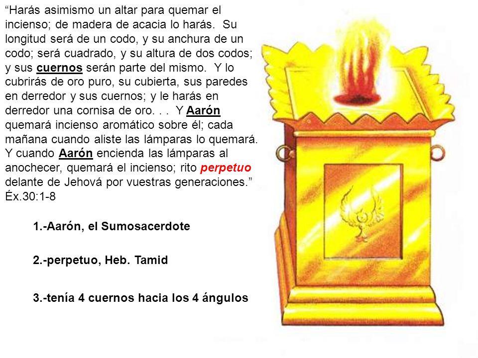 Harás asimismo un altar para quemar el incienso; de madera de acacia lo harás. Su longitud será de un codo, y su anchura de un codo; será cuadrado, y su altura de dos codos; y sus cuernos serán parte del mismo. Y lo cubrirás de oro puro, su cubierta, sus paredes en derredor y sus cuernos; y le harás en derredor una cornisa de oro. . . Y Aarón quemará incienso aromático sobre él; cada mañana cuando aliste las lámparas lo quemará. Y cuando Aarón encienda las lámparas al anochecer, quemará el incienso; rito perpetuo delante de Jehová por vuestras generaciones. Éx.30:1-8