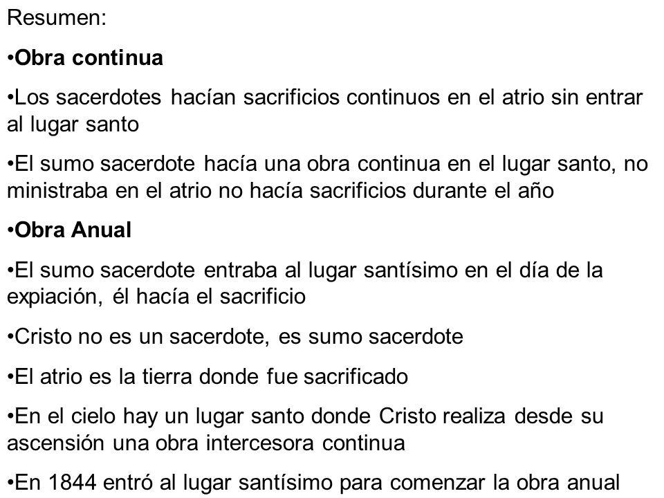 Resumen: Obra continua. Los sacerdotes hacían sacrificios continuos en el atrio sin entrar al lugar santo.