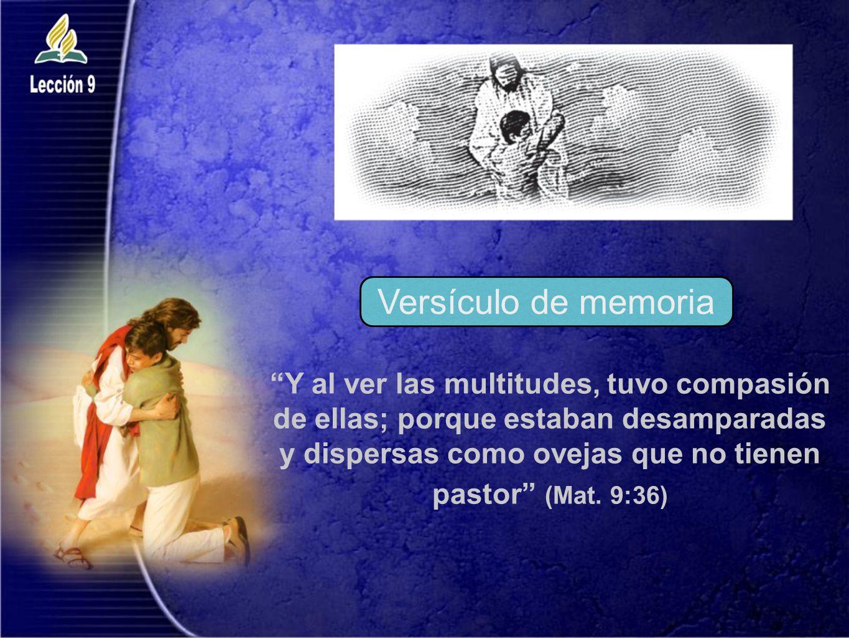 Versículo de memoria Y al ver las multitudes, tuvo compasión