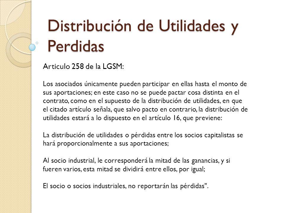 Distribución de Utilidades y Perdidas