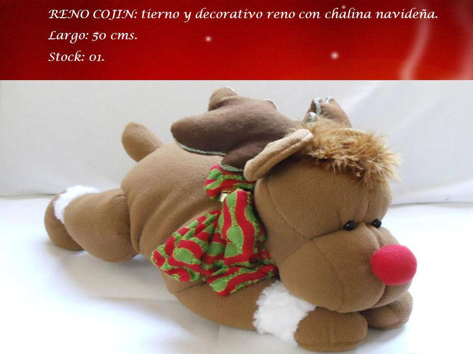 RENO COJIN: tierno y decorativo reno con chalina navideña