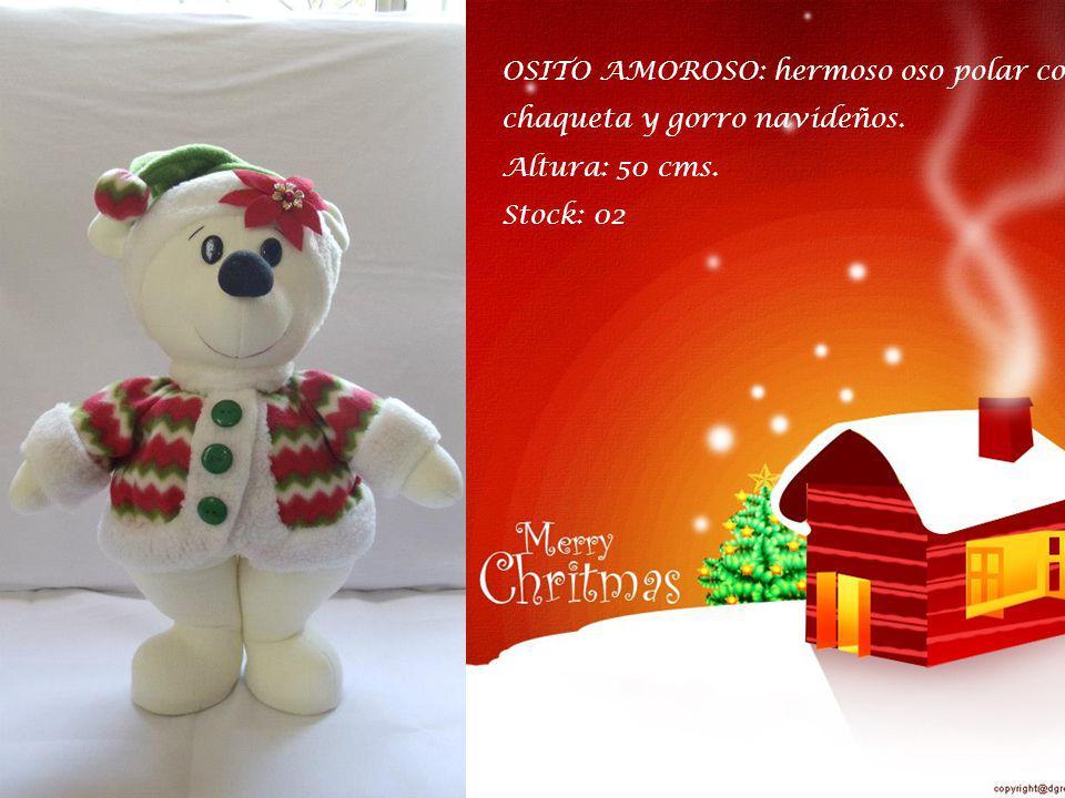 OSITO AMOROSO: hermoso oso polar con chaqueta y gorro navideños