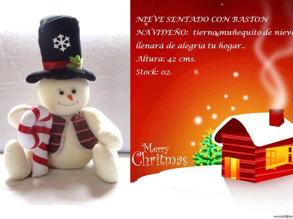 NIEVE SENTADO CON BASTON NAVIDEÑO: tierno muñequito de nieve que llenará de alegría tu hogar..