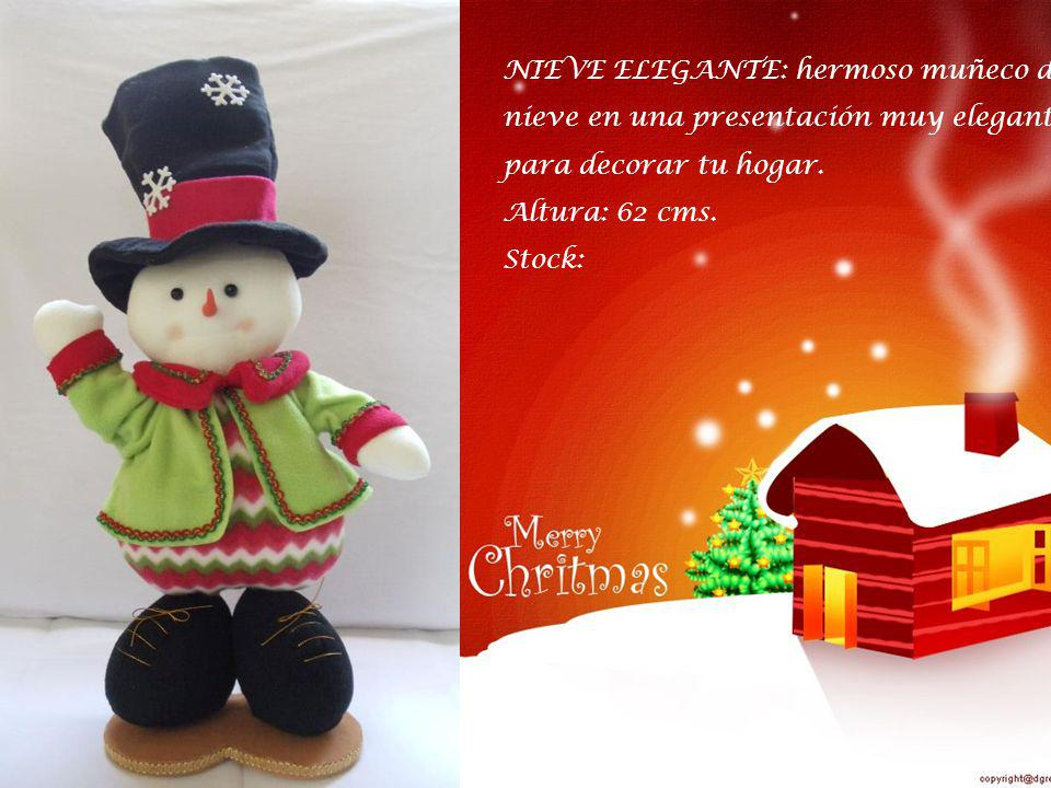 NIEVE ELEGANTE: hermoso muñeco de nieve en una presentación muy elegante para decorar tu hogar.