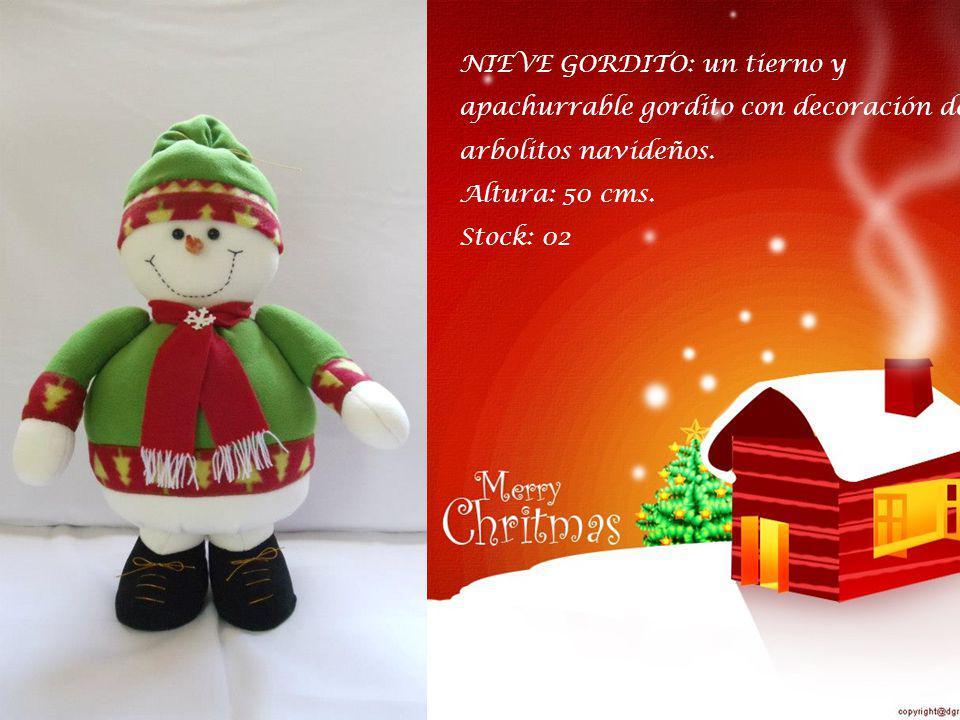 NIEVE GORDITO: un tierno y apachurrable gordito con decoración de arbolitos navideños.