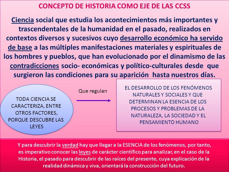 CONCEPTO DE HISTORIA COMO EJE DE LAS CCSS