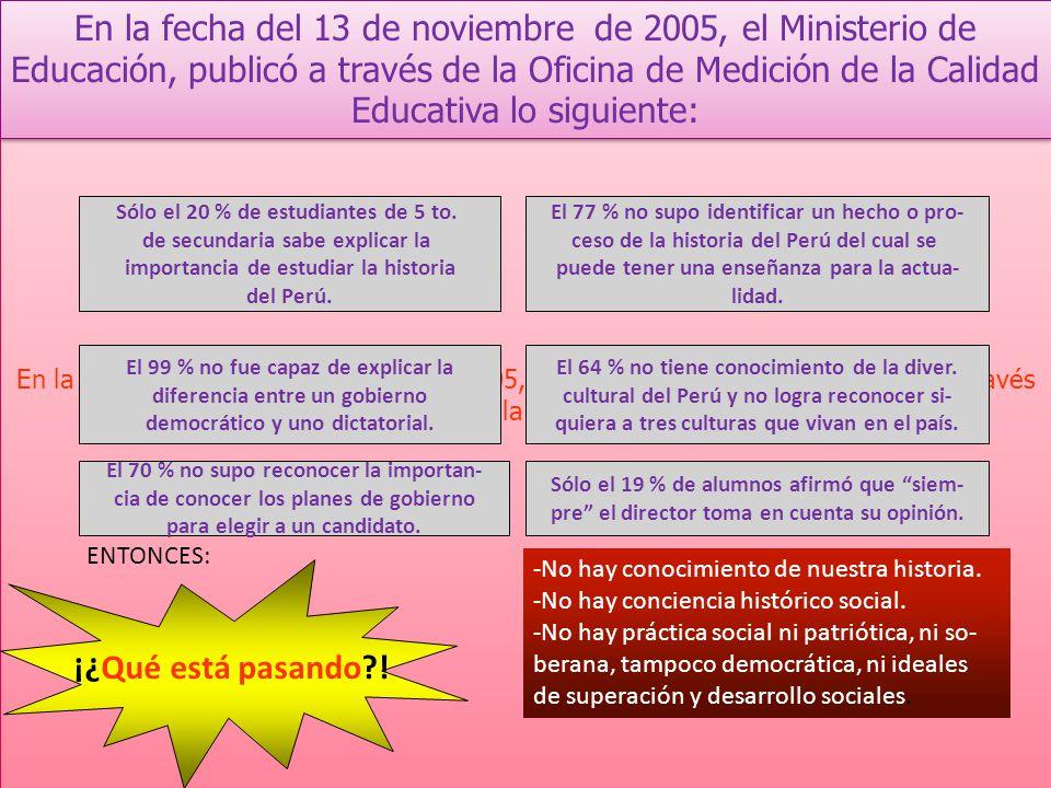 En la fecha del 13 de noviembre de 2005, el Ministerio de Educación, publicó a través de la Oficina de Medición de la Calidad Educativa lo siguiente: