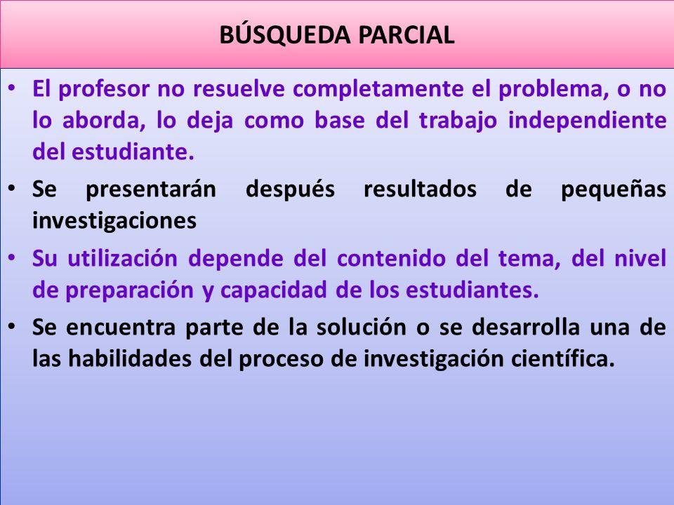 BÚSQUEDA PARCIAL El profesor no resuelve completamente el problema, o no lo aborda, lo deja como base del trabajo independiente del estudiante.