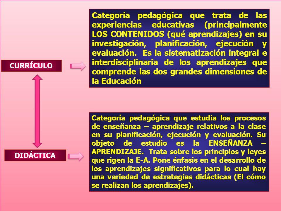 Categoría pedagógica que trata de las experiencias educativas (principalmente LOS CONTENIDOS (qué aprendizajes) en su investigación, planificación, ejecución y evaluación. Es la sistematización integral e interdisciplinaria de los aprendizajes que comprende las dos grandes dimensiones de la Educación