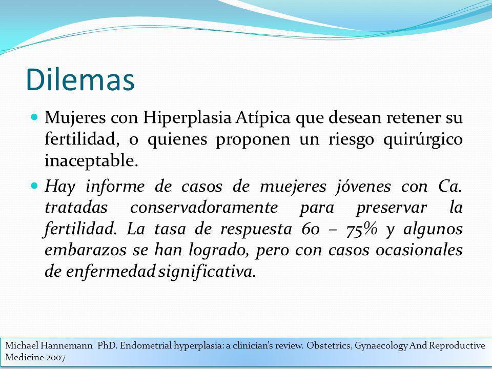 Dilemas Mujeres con Hiperplasia Atípica que desean retener su fertilidad, o quienes proponen un riesgo quirúrgico inaceptable.