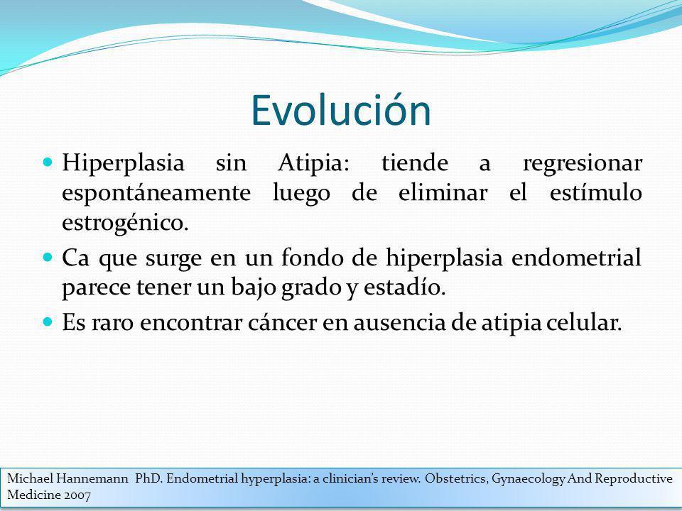 Evolución Hiperplasia sin Atipia: tiende a regresionar espontáneamente luego de eliminar el estímulo estrogénico.