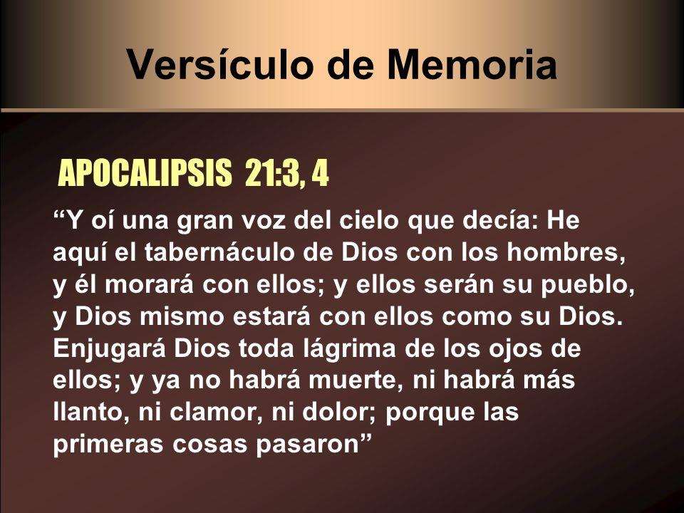 Versículo de Memoria APOCALIPSIS 21:3, 4