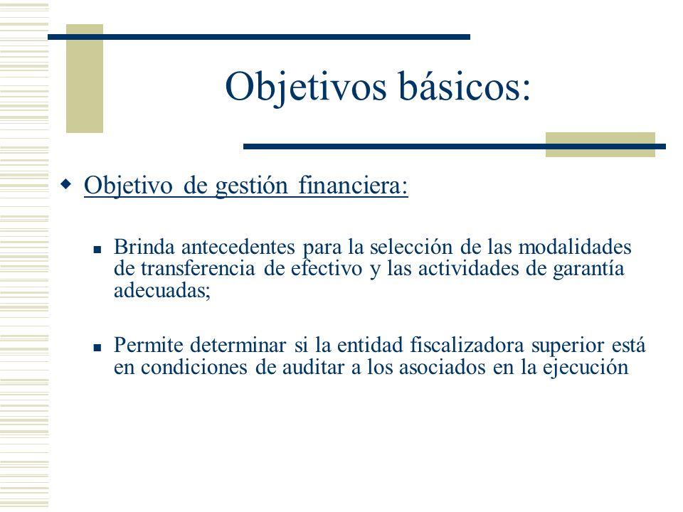 Objetivos básicos: Objetivo de gestión financiera:
