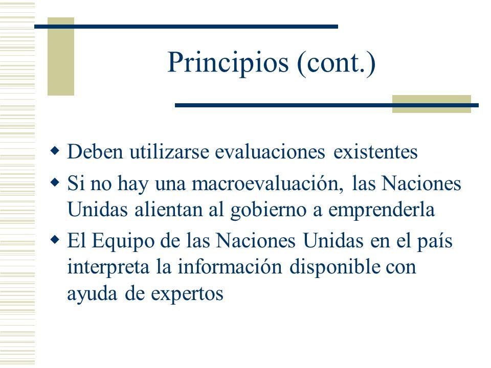 Principios (cont.) Deben utilizarse evaluaciones existentes