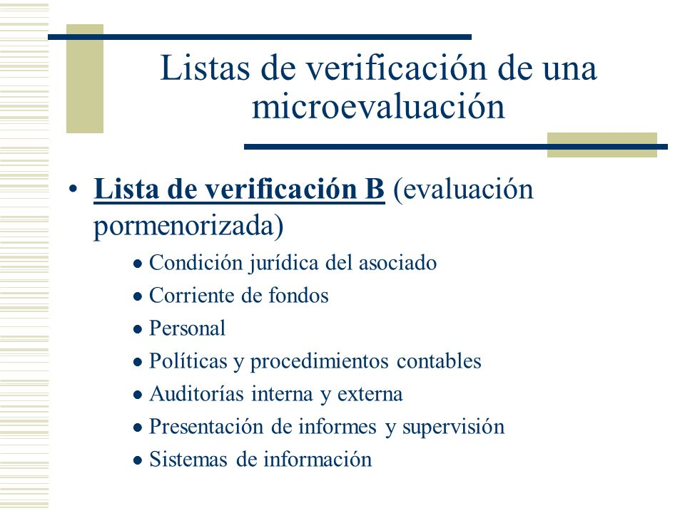 Listas de verificación de una microevaluación
