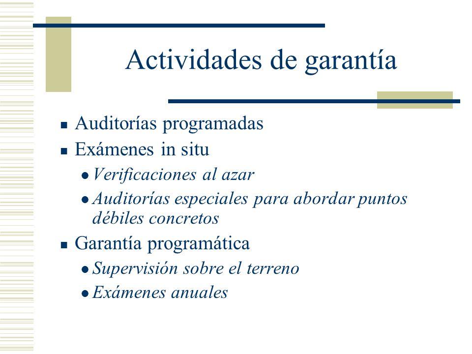 Actividades de garantía